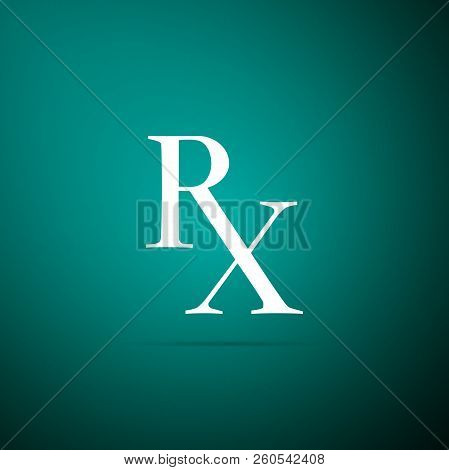 Medicine Symbol Rx Prescription Icon Isolated On Green Background. Flat Design. Vector Illustration