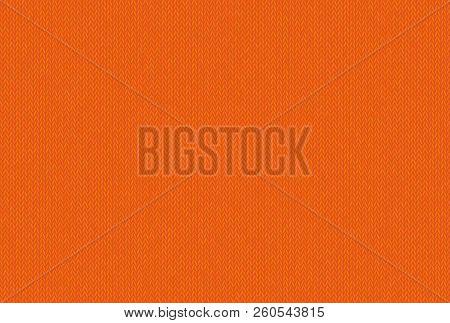 Knitted Texture, Wool Melange Yarn. Joyful And Carefree Shade Of Russet Orange. Vector Seamless Back