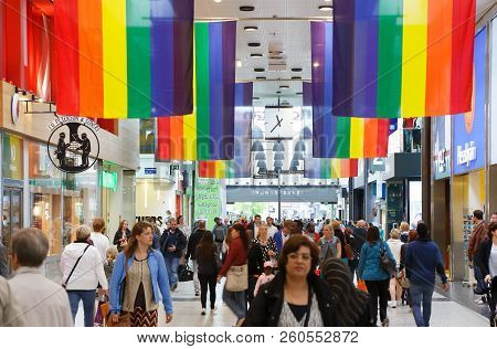Gothenburg, Sweden- May 28, 2013: Rainbow Flag Decorating The Interior Of The Nordstan Shopping Mall