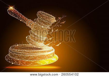 Court, Judgment, Bid, Auction Concepts. Judge Gavel, Auction Hammer. Vector Illustration