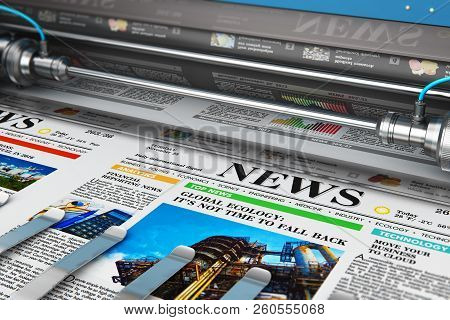 3d Render Illustration Of Printing Color Daily Business Newspapers Or News Papers On The Offset Prin