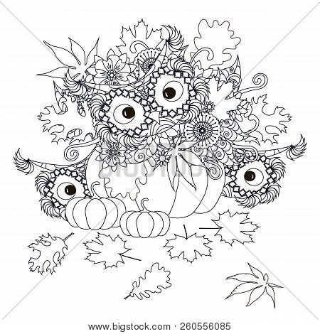 Pumpkins With Flowers, Maple And Oak Leaves, Owl Monochrome Typography Banner, Postcard Stock Design