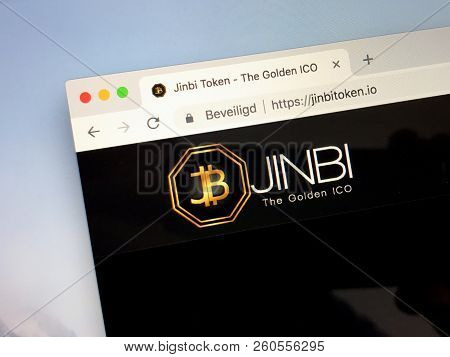 Amsterdam, The Netherlands - September 28, 2018: Website Of Crypto Jinbi Token, A By Gold Backed Up