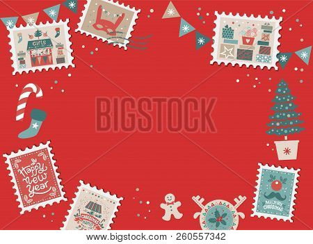 Festive Christmas Border, Frame With Christmas Tree And Festive Decorations Garland, Sock, Stamps. C