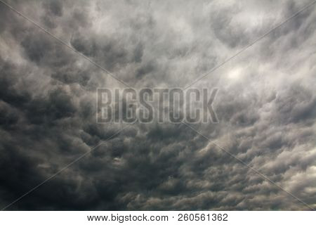 Dramatic Stormy Sky In Gray Clouds Dangerous Windy And Rainy Weather