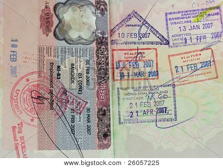 inside of a british passport  with visas