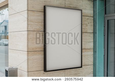 Blank White Outdoor Banner At Bright Modern Building Wall, 3D Rendering.