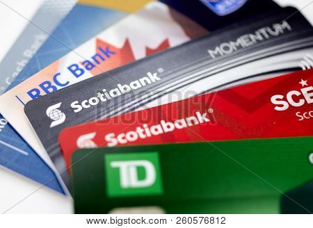 Montreal, Canada - September 21, 2018: Credit Cards Of Different Canadian Banks. Scotiabank, Rbc And
