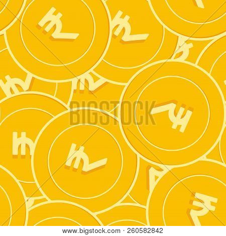 Indian Rupee Coins Seamless Pattern. Energetic Scattered Inr Coins. Big Win Or Success Concept. Indi