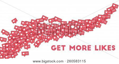 Get More Likes. Social Media Icons In Abstract Shape Background With Pink Counter. Get More Likes Co