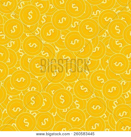 American Dollar Coins Seamless Pattern. Fresh Scattered Usd Coins. Big Win Or Success Concept. Usa D
