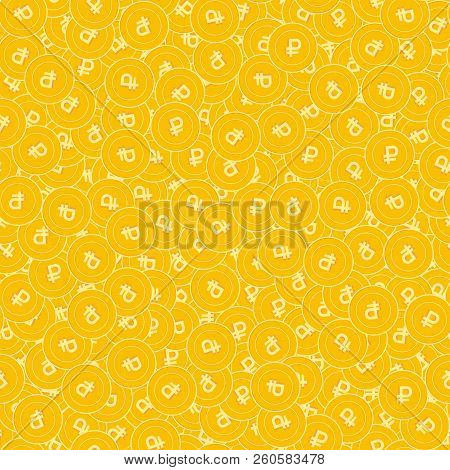 Russian Ruble Coins Seamless Pattern. Emotional Scattered Rub Coins. Big Win Or Success Concept. Rus