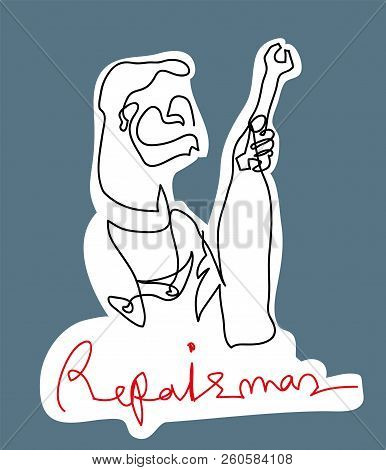 Repairman Holding Wrench.  Black And White Simple Line Drawing Of Repairman With Color Background.