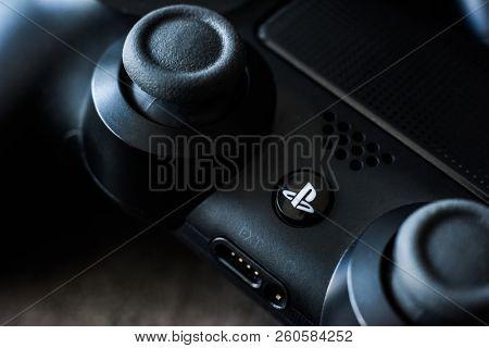 Khakiv, Ukraine - 02 May 2018: Close-up of black video games PlayStation gaming controller