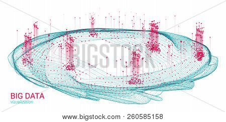 3d Digital Visualization. Big Data Complex. Wave Cosmic Design With Distortion And Motion. Analysis