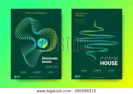 Sound Wave Poster Of Electronic Music Event. Abstract Background With Gradient Circle And Lines. Dis