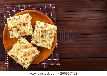 Fresh Homemade Traditional German Zwiebelkuchen Onion Cake, A Savory Baked Pastry Or Pie Made Of Yea