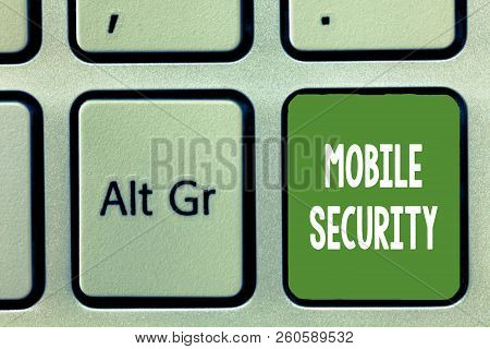 Word Writing Text Mobile Security. Business Concept For Protection Of Mobile Phone From Threats And