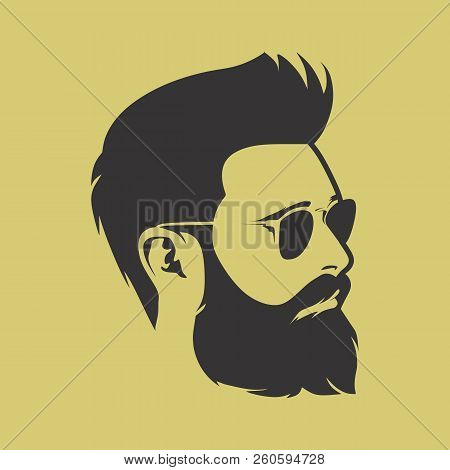 Vector Bearded Men Faces Hipsters With Different Haircuts, Mustaches, Beards. Silhouettes, Avatars,