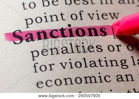 Fake Dictionary, Dictionary Definition Of The Word Sanctions. Including Key Descriptive Words.