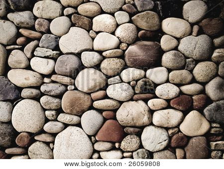 pebble stone wall