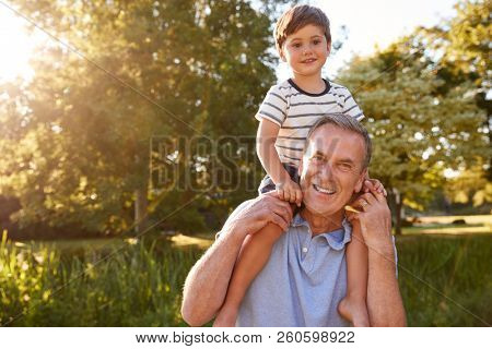 Portrait Of Grandfather Giving Grandson Ride On Shoulders In Summer Park