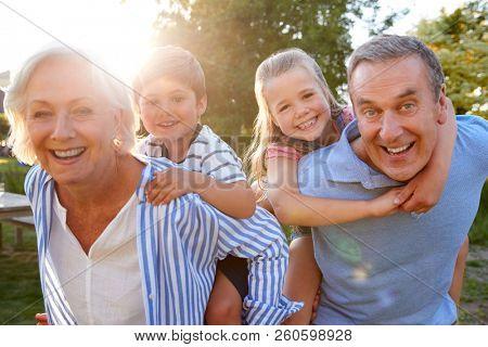 Portrait Of Smiling Grandparents Giving Grandchildren Piggyback Ride Outdoors In Summer Park