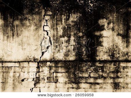 old moldy brick wall