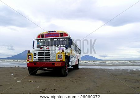 bus parked on beach nicaragua (travel central america )