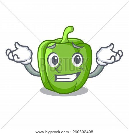 Grinning Green Peppers On The Table Cartoon
