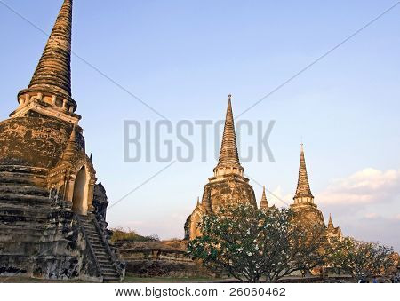 The ruins of the old walled city of Ayuttaya, the former capital of Thailand. poster