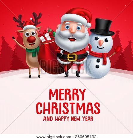 Merry Christmas Greeting With Christmas Vector Characters. Santa Claus, Reindeer And Snowman Carryin