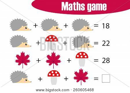 Maths Game With Pictures (autumn Theme) For Children, Middle Level, Education Game For Kids, Prescho