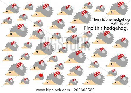 Find Hedgehog With Apple, Fun Education Puzzle Game With Autumn Theme For Children, Preschool Worksh