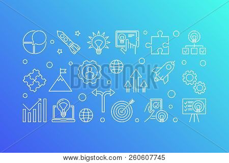 Business Startup Vector Concept Horizontal Banner. Start Up Illustration Made With Start-up Icons In