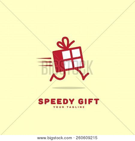 Speedy Gift Logo Template Design With A Running Box. Vector Illustration.