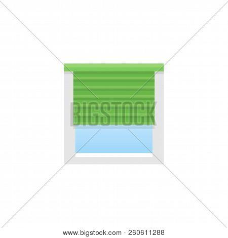 Green Horizontal Blind. Sun Protection Shade. Room Darkening & Light Blocking  Jalousie. Flat Illust