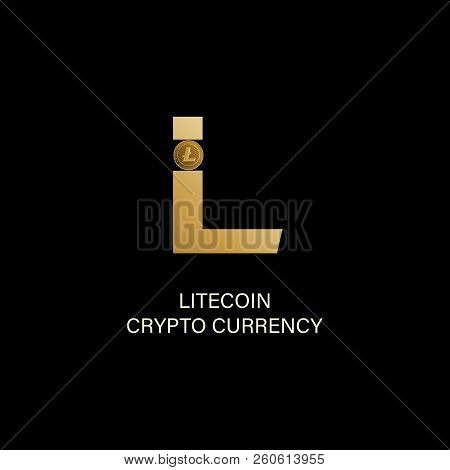 Litecoin. Capital Letter L And Symbol Of A Physical Coin. Gold Sign Of Crypto Currency On A Dark Bac