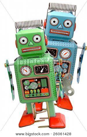two retro robot roys