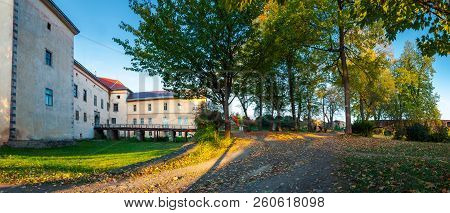Uzhhorod, Ukraine - Oct 12, 2008: Panorama Of Uzhhorod Castle Inner Courtyard. Bridge And Entrance T