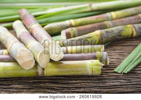 Close Up Sugarcane On Wood Background Close Up..