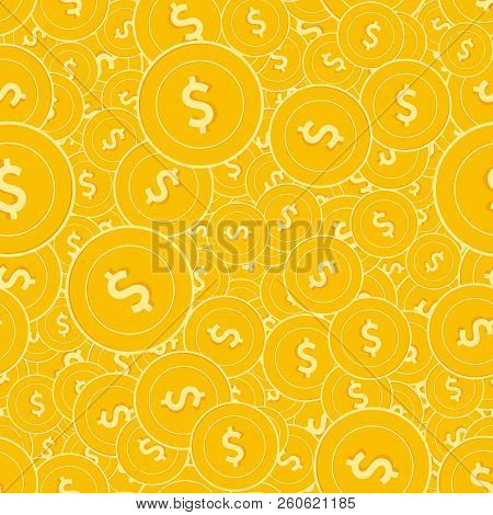 American Dollar Coins Seamless Pattern. Good-looking Scattered Usd Coins. Big Win Or Success Concept