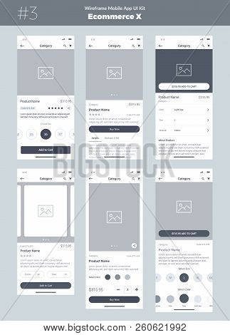 Wireframe Kit For Mobile Phone. Mobile App Ui, Ux Design. New Os Ecommerce Product. Category, Name O