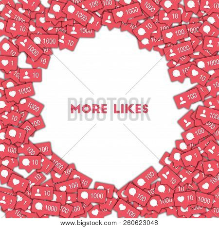 More Likes. Social Media Icons In Abstract Shape Background With Counter, Comment And Friend Notific