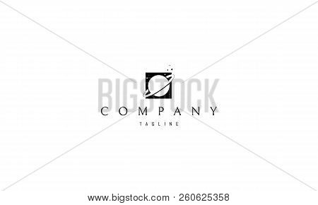 Saturn In Square Black Vector Logo Image