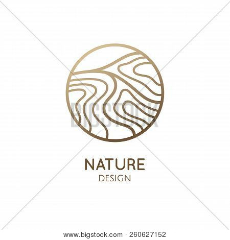 Waves Logo Template. Vector Linear Round Icon Of Water Or Desert Landscape With Barkhans. Minimal Em