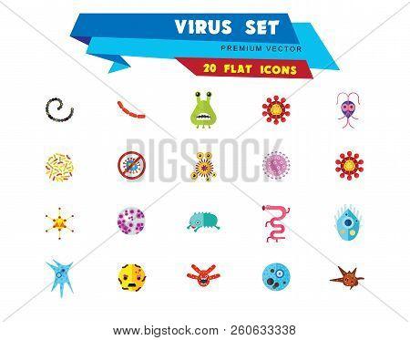 Virus Icons Set. Thirteen Vector Icons Of Influenza Virus, Coronavirus, Adenovirus And Other Bacteri