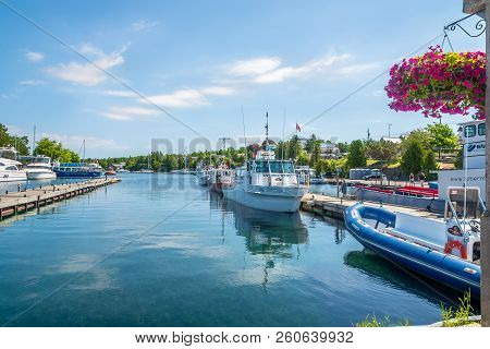 Tobermory,canada - June 28,2018 - View At The Docks Of Tobermory Town. Tobermory Is A Located At The