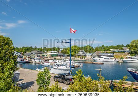 Tobermory,canada - June 28,2018 - In The Docks Of Tobermory Town. Tobermory Is A Located At The Nort