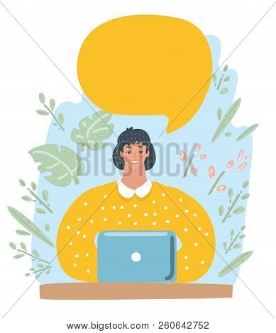 Vector Illustration Character Design Business Woman Happy Working With Speech Bubble. Female Charact